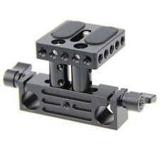 DSLR Baseplate Mount w/ Railblock Height Riser fr 15mm Rail Rod Support System