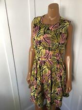 BAR lll fit & Flare A-Line palm tree Dress pink green black M $59.50