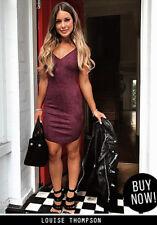 AX Paris Womens Plum Mini Dress, Faux Suede, Strappy V Neck, Party, Clubwear