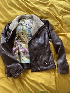 Ted Baker Genuine Leather Brown Jacket Sherpa Size 2 10