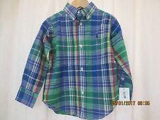 Polo Ralph Lauren Boys Plaid Shirt Sz 3 Long Sleeved  Pony Cotton NWT