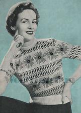 Knitting Pattern Vintage Lady's 1940s Fair Isle Jumper, Summer Flower Design.