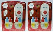 Febreze PLUG Scented Oil Fresh Pressed Apple 4 Refills & 2 Warmers