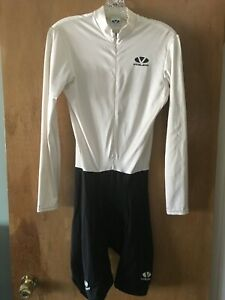Voler Men's Cycling Skin Suit w/ long sleeves - Size M - white and black - USED