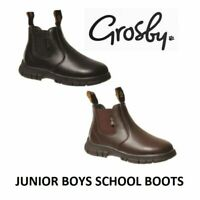 GROSBY RANCH JUNIOR BOYS BOOTS Black / Brown Jnr School Leather Slip On Shoes