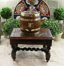 Antique English Oak Petite BARLEY TWIST Foot Stool Bench Kitchen Kettle Stand #2