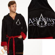 Adult Assassins Creed Black Hooded Soft Fleece Bathrobe Dressing Gown