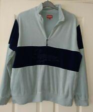 Mens Supreme Velour Blue Striped Sweatshirt Size Large