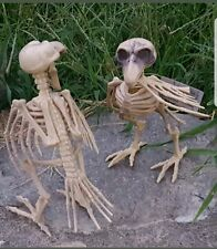 New 2 Halloween Skeleton Bones Crow Raven Dead FOSSIL birds ornament decor/Prop!