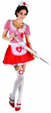 Ladies Women's Red&White Nurse Costume Hospital Fancy Dress Outfit