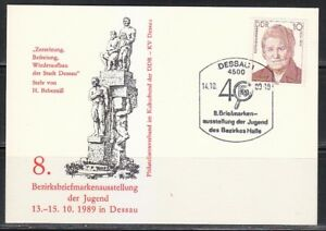 Germany DDR 1989 post card postkarte Stamp Exhibition in Dessau