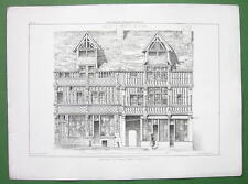 ARCHITECTURE PRINT : FRANCE Half Timber House at Lisieux