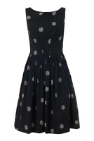 Emily and Fin Abigail Dress Evening Blue with Sketchy Spot Size XS