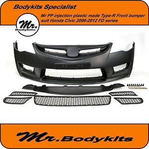 Mr Plastic Type-R  Plastic Full Front Bumper For Honda Civic 2006-2012 Sedan FD