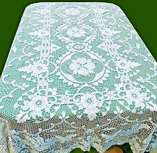Point de Venice Needle Lace Tablecloth Bird Phoenix Blue White 64x100 Oblong