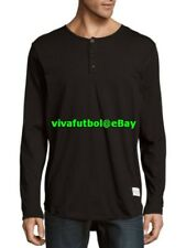 NEW Kinetix Casual Luxury Mens Sultans Long Sleeve Black Henley Top Tee SMALL S