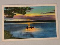 Vintage Postcard - Sunset On Lake In Maine ME Canoe Paddling Back To Shore #739