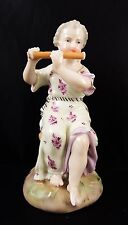 Stunning 19th Century Sitzendorf Figure Girl Playing Flute Finely Modelled