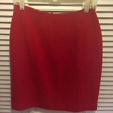 NEW. Neiman Marcus RED SILK Skirt w Side Slit.  Silk. 8