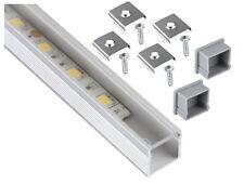 Aluminium Profil Leiste 2m SET + Abdeckung klar + Endkappe - für LED Lichtband