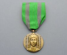 French Medal. Woman Marianne Female Gallia. Ribbon. Art Deco. Pendant.
