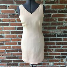 Hugo Buscati Sleeveless Dress Classic Sheath 100% Silk Blush Pink Sz. 4 EUC
