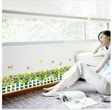 Garden Flower Grass Butterfly Wall Border Decal Removable Windows Sticker Decor