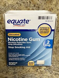 Equate Uncoated Nicotine Gum, Original Flavor 2mg, 220 Pieces Opened Box