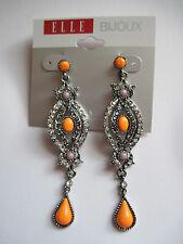 Rhinestone Dangle Earrings Free S&H Designer Elle Bijoux SilverTone Orange Bead