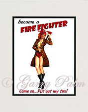 """Firefighter Girl"" 11x14 Print by watercolor artist Garry Palm"