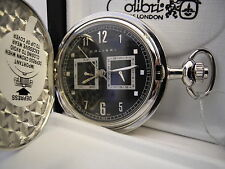 COLIBRI SILVERTONE 2 EYE BLACK FACE POCKET WATCH DAY/ DATE NEW ! REDUCED