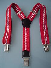 MENS MEN BRACES SUSPENDERS RED WHITE STRIPES 40mm! HEAVY DUTY WORK BIKER BRACES