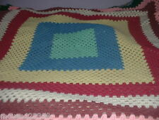 Handmade Crochet Afghan Throw Blanket  bright colors