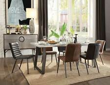 Modern Dining Room 7 piece Aluminum Rectangular Table & Leather Chairs Set ICB7
