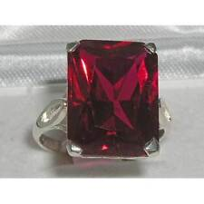 Luxury Solid Sterling Silver Large 16x12mm Octagon cut Synthetic Ruby Ring
