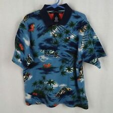 Tommy Hilfiger boys shirt Size 7 Polo golf style Retro Hawaiian print Surf Woody