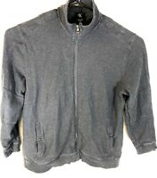 CK Calvin Klein Mens Sweater Full Zip Charcoal Gray 2XL 100% Cotton