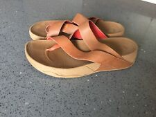 fitflops size 7 Toepost Brown Leather With Wobbleboard