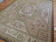 .  French 9x12 Savonnerie Aubusson Design Oriental Rug Beige Green