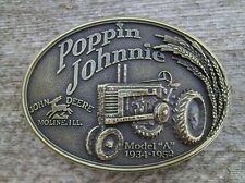 John Deere Poppin Johnnie Model A Tractor Belt Buckle Antique Bronze NEW