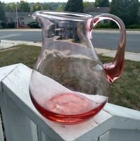 Large Antique Vintage Pink  Blown Glass Pitcher 3qt perfect!