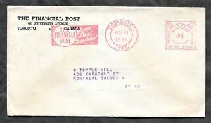 p778 - TORONTO 1939 ADVERTISING Meter / Slogan Cancel on Cover. Financial Post