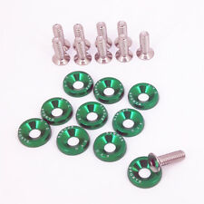 Green Aluminum Alloy Fender Bumper Engine Dress Up Washers Kit with Bolts 10pcs