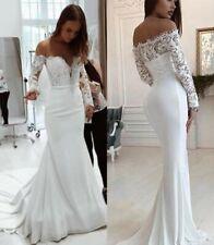 a4f88fb8d55 Off Shoulder Wedding Dresses Mermaid Long Sleeve Applique Bridal Gowns  Custom