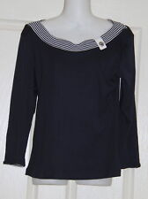 Womens size 10 blue & white sailor style top made by BLACK APPLE