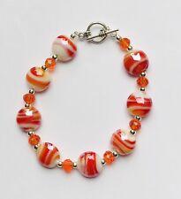 Stunning Orange Italian Striped Glass & Crystal Bracelet On A Toggle