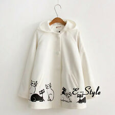 White Japanese Sweet Girls Lolita Blouse Jacket Cute Cat Coat Hooded Cardigan