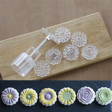 50g Mooncake Mold + 6 Flower Stamps DIY Baking Pastry Round Moon Cake Mould Tool