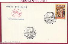 ITALIA FDC CAVALLINO MOSTRA FILATELIA E SALUTE 1987 ANNULLO SAN MARINO Y170