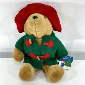 "VTG 90s Paddington Bear Plush Stuffed Teddy 16"" Xmas Holiday Fun Book Sears 1996"